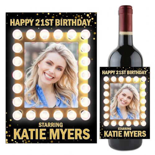 Personalised Light Frame Sparkle Happy Birthday Wine / Champagne Bottle PHOTO Label N107